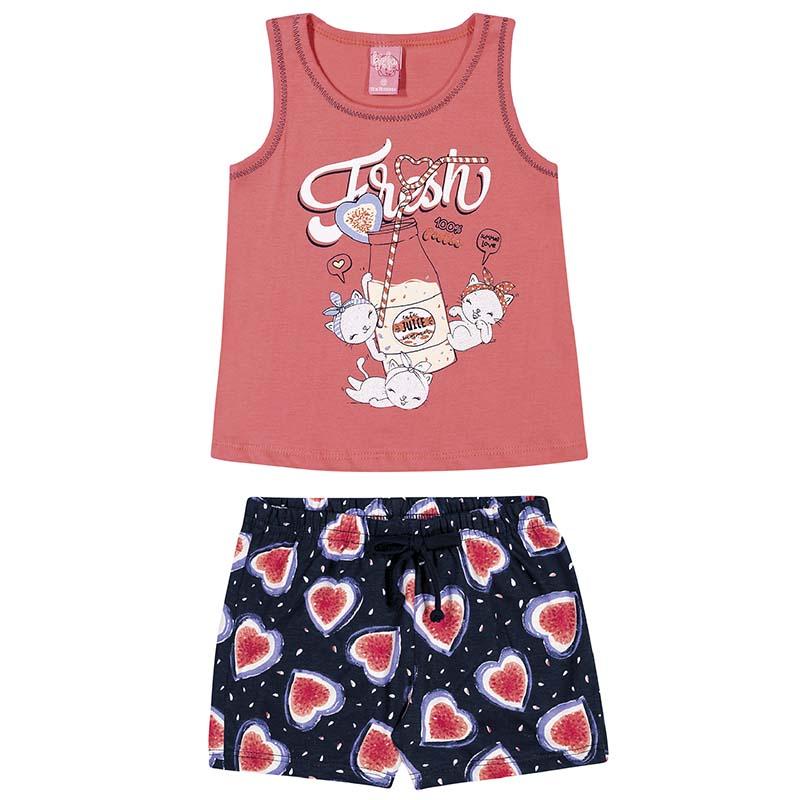 Conjunto Blusa e Shorts Kinha Primeiros Passos em Meia Malha Rosa e Marinho Primavera Verão