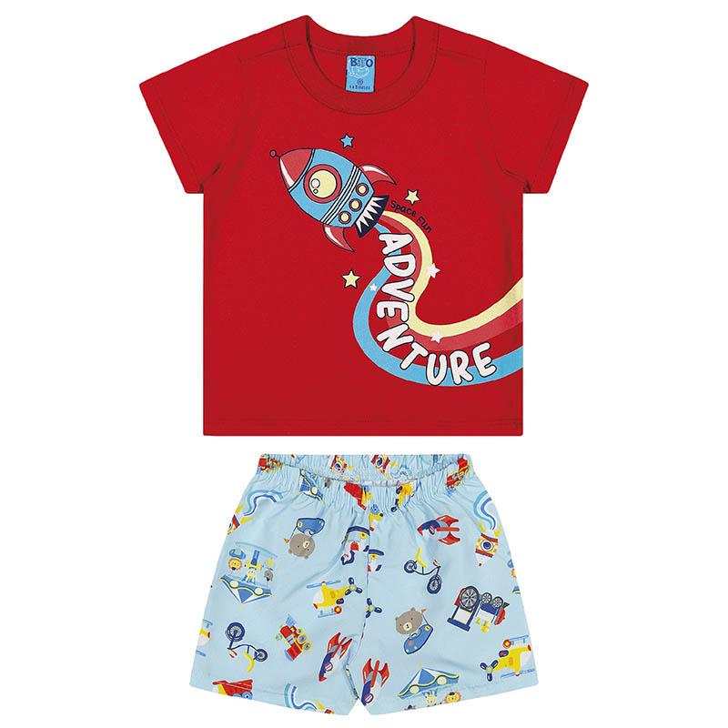Conjunto Camiseta e Bermuda Bito em Meia Malha e Microfibra Pimenta e Azul Primavera Verão