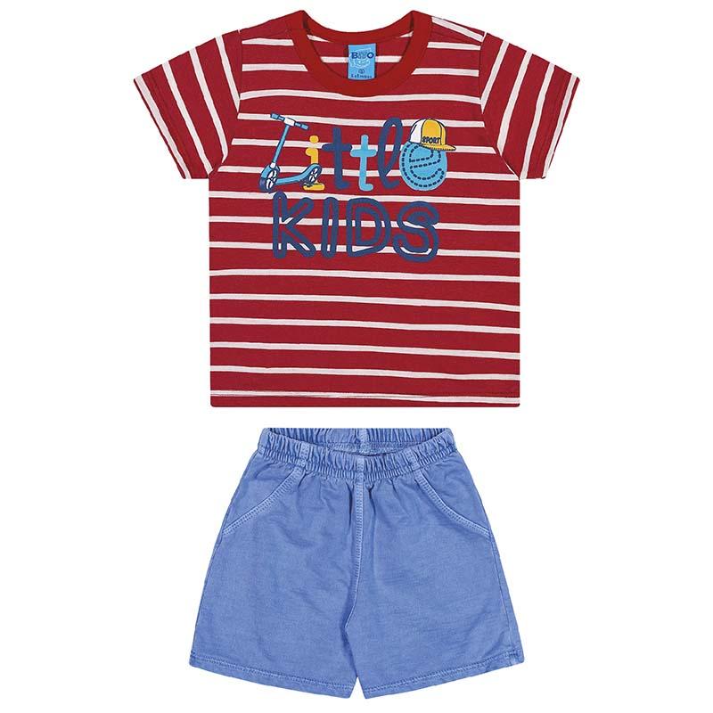 Conjunto Camiseta e Bermuda Bito em Meia Malha e Moletinho Vermelho Copas e Azul Primavera Verão