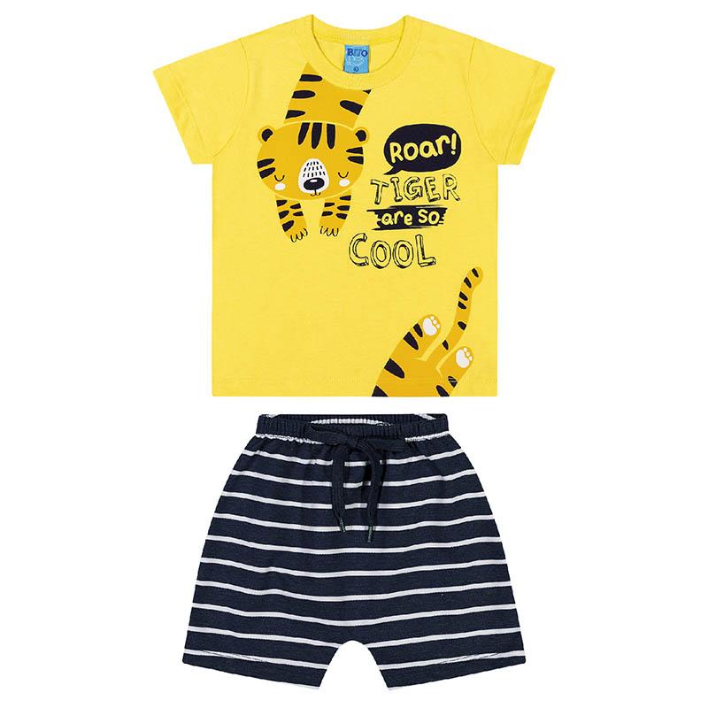 Conjunto Camiseta e Bermuda Bito Primeiros Passos em Meia Malha Amarelo e Preto Primavera Verão
