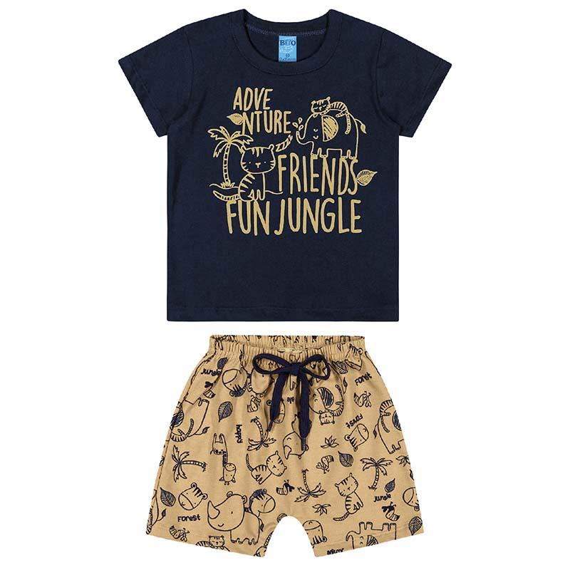 Conjunto Camiseta e Bermuda Bito Primeiros Passos em Meia Malha Marinho e Bege Primavera Verão