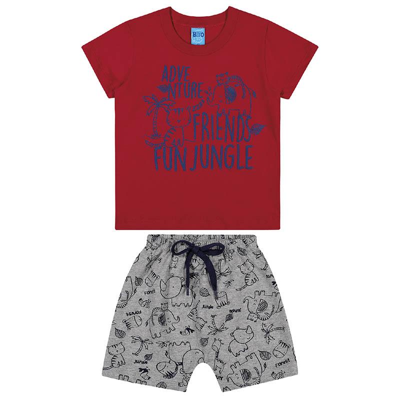 Conjunto Camiseta e Bermuda Bito Primeiros Passos em Meia Malha Vermelha e Mescla Primavera Verão