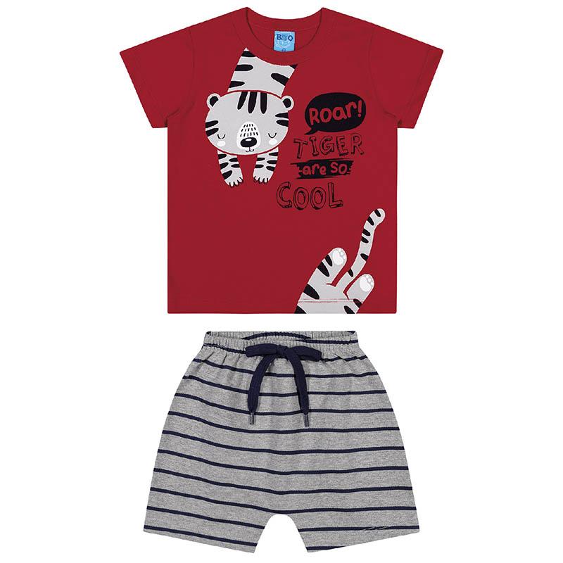 Conjunto Camiseta e Bermuda Bito Primeiros Passos em Meia Malha Vermelho e Mescla Primavera Verão