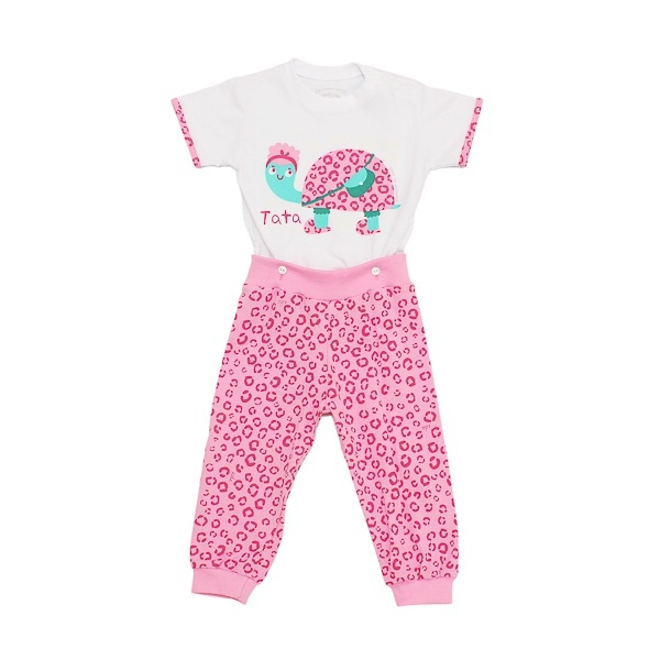 Pijama Manga Curta Menina Rosa com Calça