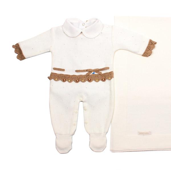 Saída de Maternidade Furinhos e Borboletas Swarovki Branco Petit Mouton
