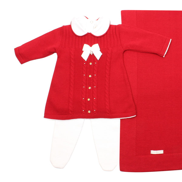 Saída de Maternidade Menina Tranças Star Vermelho Petit Mouton