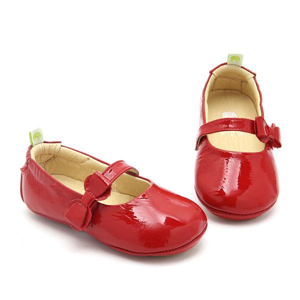 Sapato Boneca em Couro Bebê Verniz Vermelho Le Fantymy