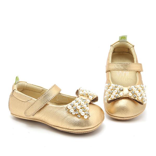 Sapato Boneca em Couro Prince Dourado Le Fantymy