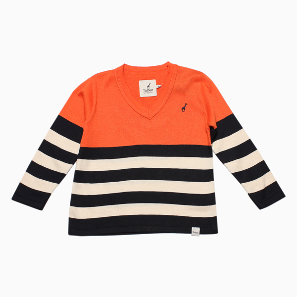 SWEATER COM LISTRAS LARGAS TRICOT TOFFEE Suéter com Listras Largas Tricô Toffee