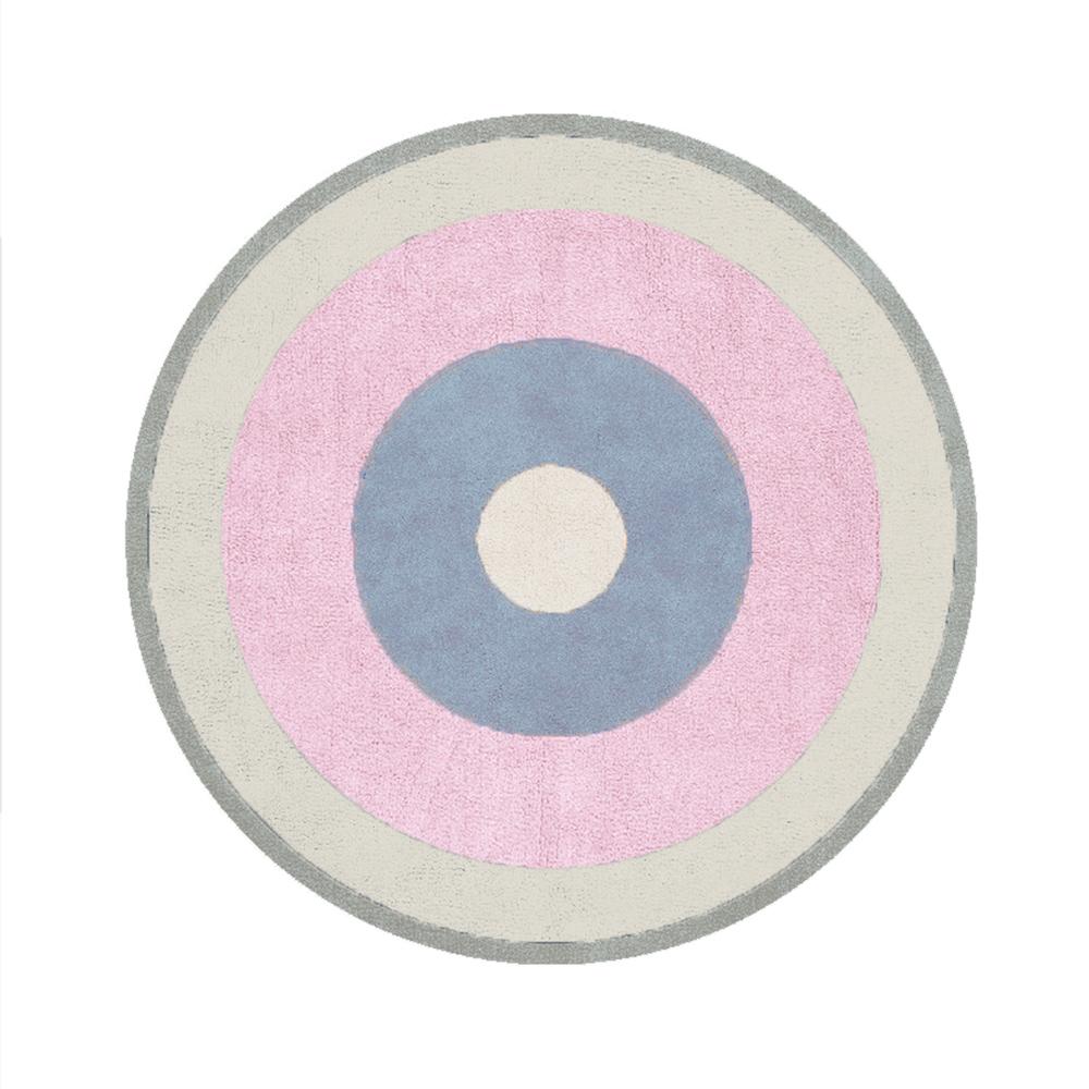 Tapete Quarto do Bebê Circle Block - Rosa/Azul/Bege/Cinza - Nina Rugs