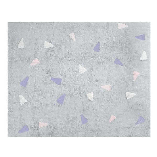 Tapete Quarto do Bebê Confetti Cinza com Figuras Rosas, Lilases e Brancas Nina Rugs