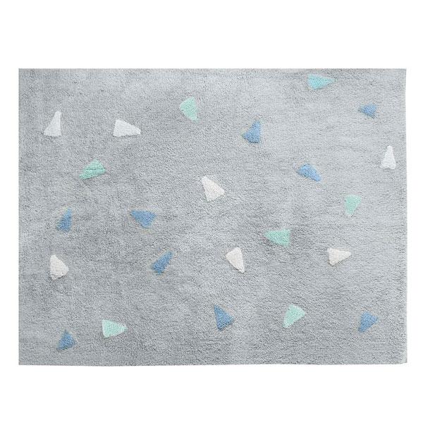 Tapete Quarto do Bebê Confetti Tom Azul e Cinza Nina Rugs