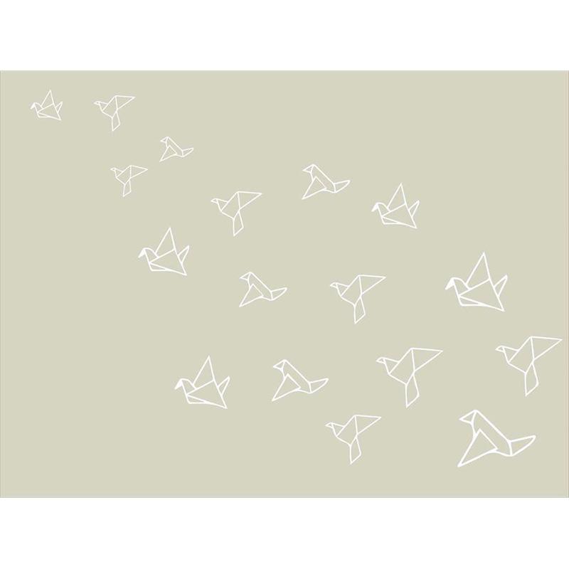 Tapete Quarto do Bebê Origami - Bege e Branco - Nina Rugs