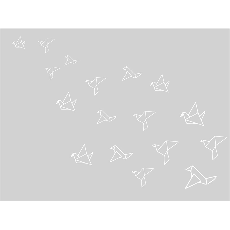 Tapete Quarto do Bebê Origami - Cinza e Branco - Nina Rugs