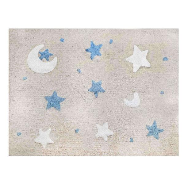 Tapete Quarto do Bebê Sky Bege e Azul Nina Rugs