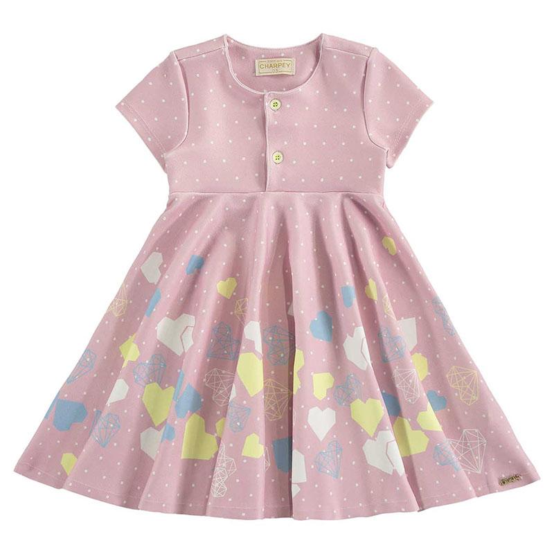 Vestido Bebê Menina Estampa Coração e Diamantes Charpey