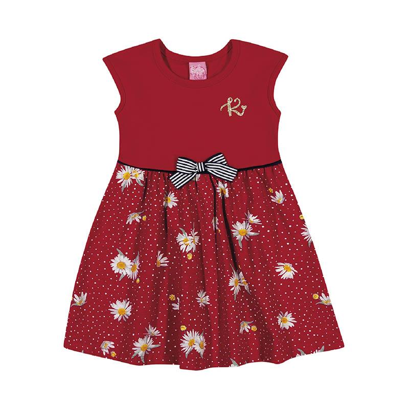Vestido Kinha em Cotton e Meia Malha Vermelho Primavera Verão