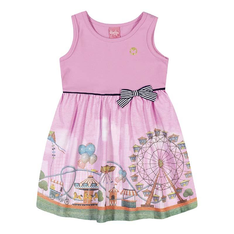 Vestido Kinha Primeiros Passos em Cotton e Meia Malha Rosa Blossom Primavera Verão