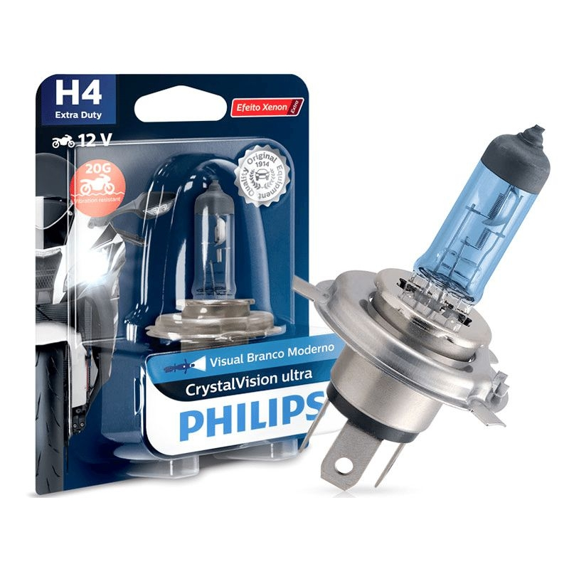 Lâmpada Philips H4 60/55W Cristalvision Moto