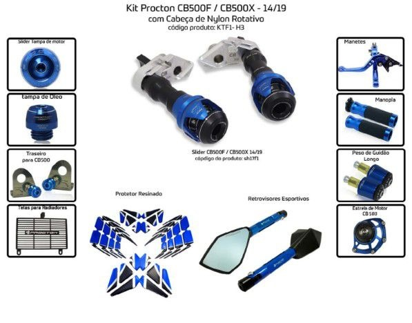 Slider CB 500F CB 500X 2014/2019 Procton - 11 Pecas