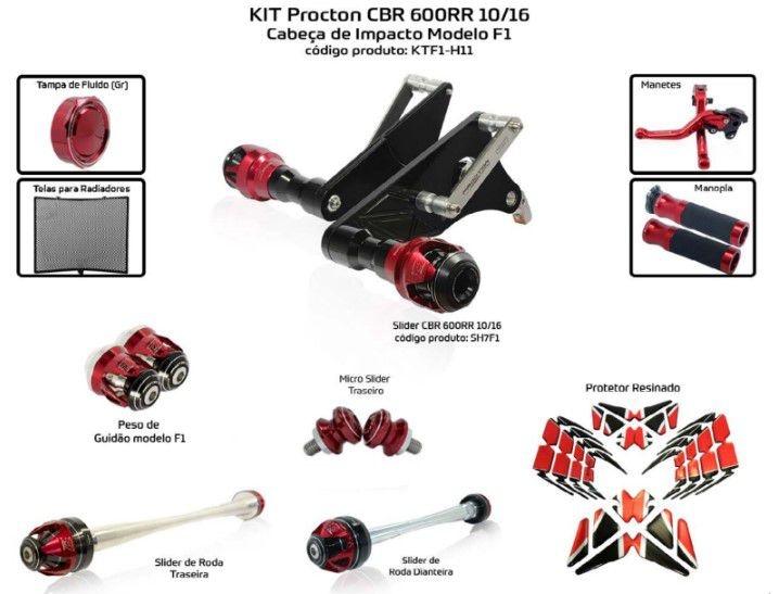 Slider CBR 600RR 2010/2016 Procton - 10 Pecas