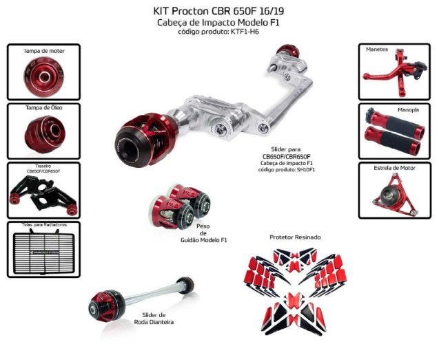 Slider CBR 650F 2016/2019 Procton - 11 Pecas
