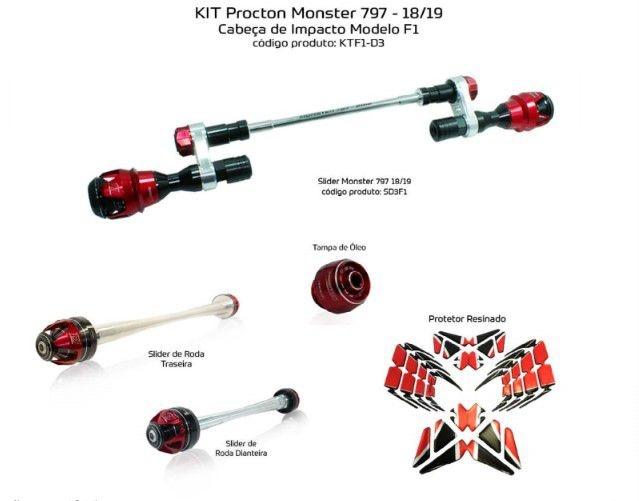 Slider Ducati Monster 797 2018/2019 Procton - 5 Pecas