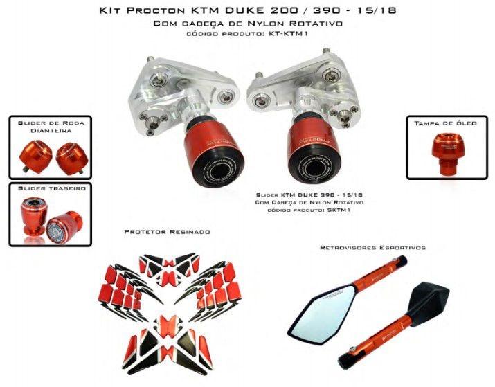Slider KTM Duke 200/390 2015/2018 Procton - 6 Pecas