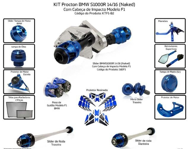Slider S1000R 2014/2016 Procton - 14 Pecas