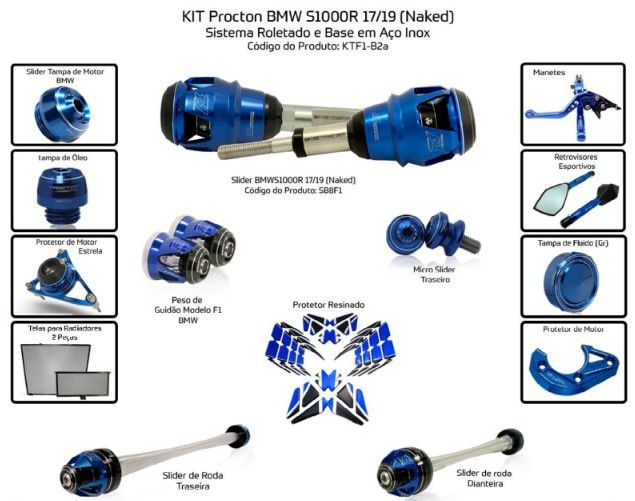 Slider S1000R 2017/2019 Procton - 14 Pecas