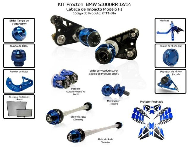 Slider S1000RR 2012/2014 Procton - 13 Pecas