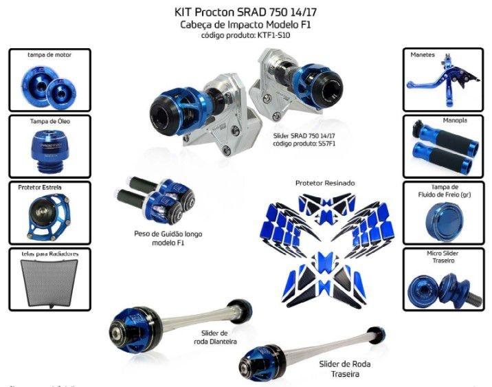 Slider SRAD GSXR 750 2014/2017 Procton - 13 Pecas