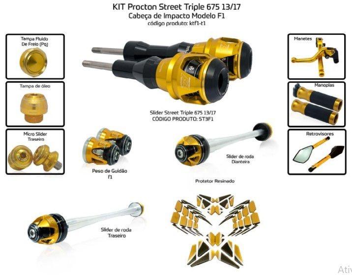 Slider Street Triple 675 2013/2017 Triumph Procton - 11 Pecas