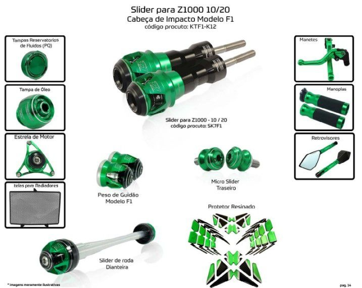 Slider Z1000 2010/2020 Procton - 12 Pecas