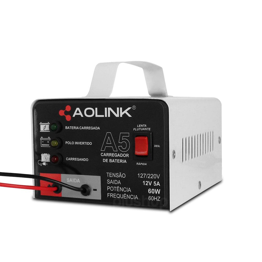 Carregador de Bateria Automotiva Bivolt Automático 12v 5a Branco - Aolink
