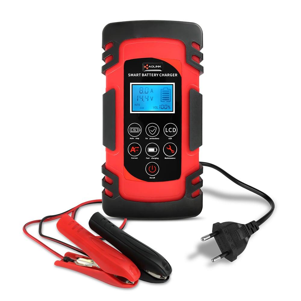 Carregador de Bateria de Carro Inteligente 12V e 24V 8A até 100Ah Com Reparador 110v - Aolink
