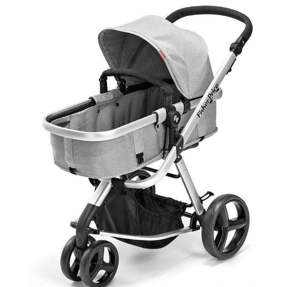 Carrinho de Bebê Berço com Moises Fisher-Price Cinza Heritage - BB555
