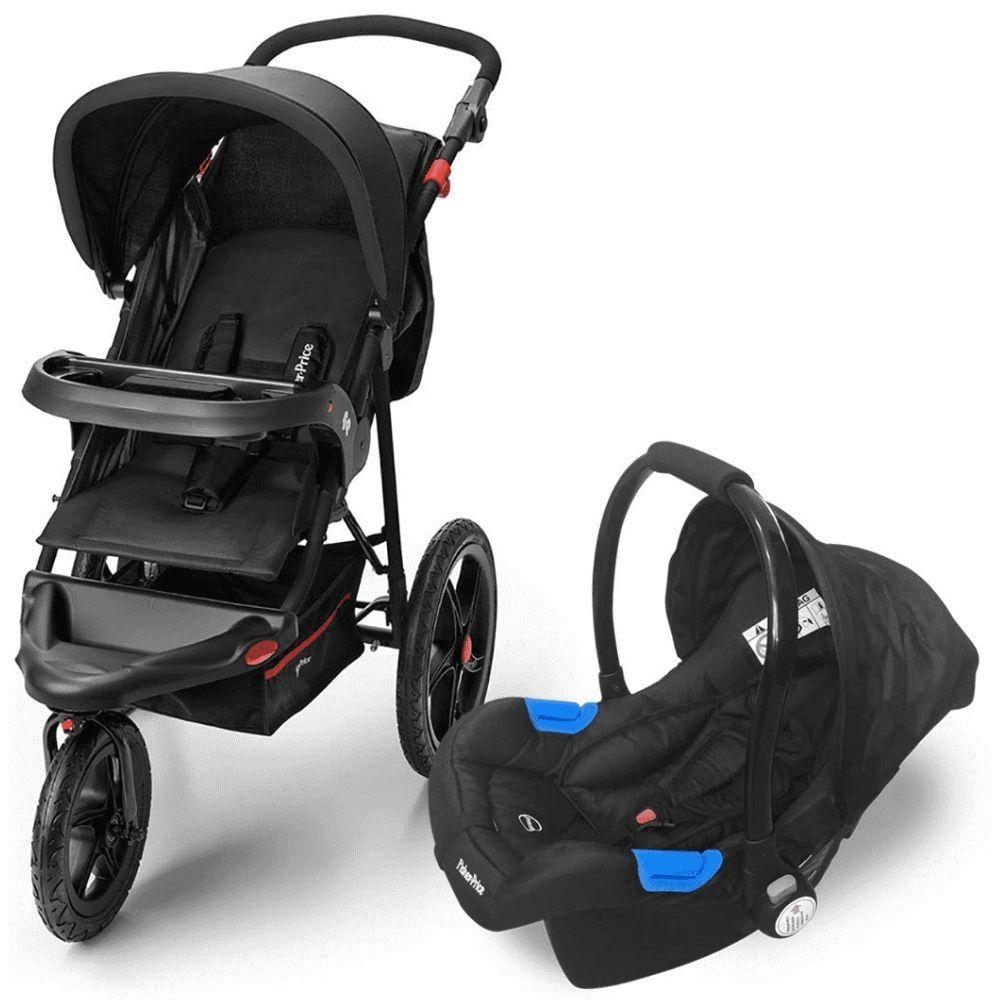 Carrinho de Bebê com Bebê Conforto Fisher Price 3 Rodas Expedition Ts Até 15Kg Preto - BB587