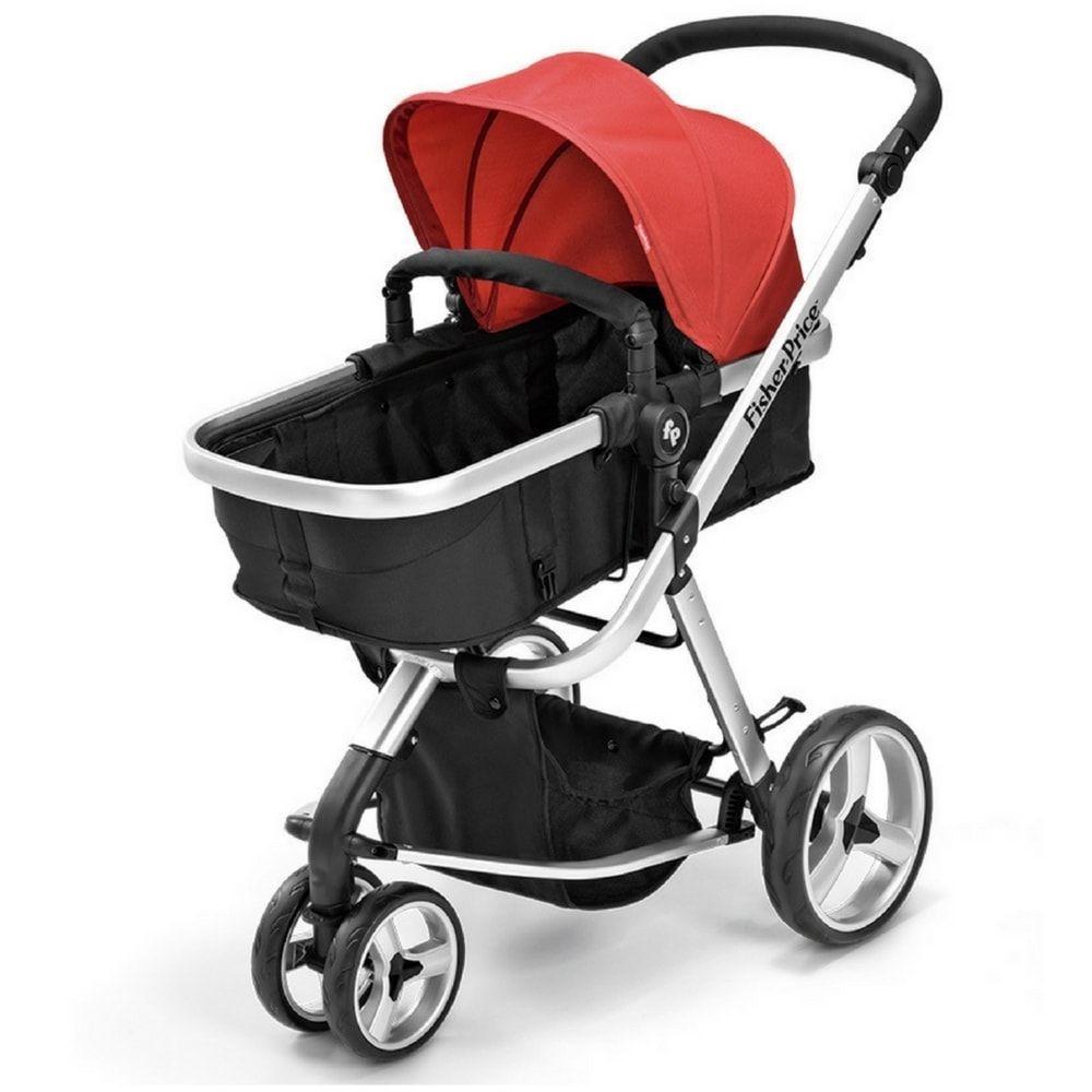 Carrinho de Bebê Fisher Price Berço com Moises Vermelho e Preto Heritage - BB554