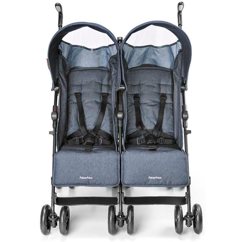 Carrinho de Gêmeos Duplo Fisher-Price City Twins Azul - BB600