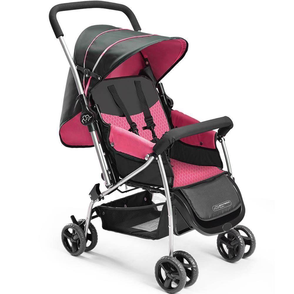 Carrinho de Passeio para Bebê Berço Flip Rosa BB504 - Multikids Baby