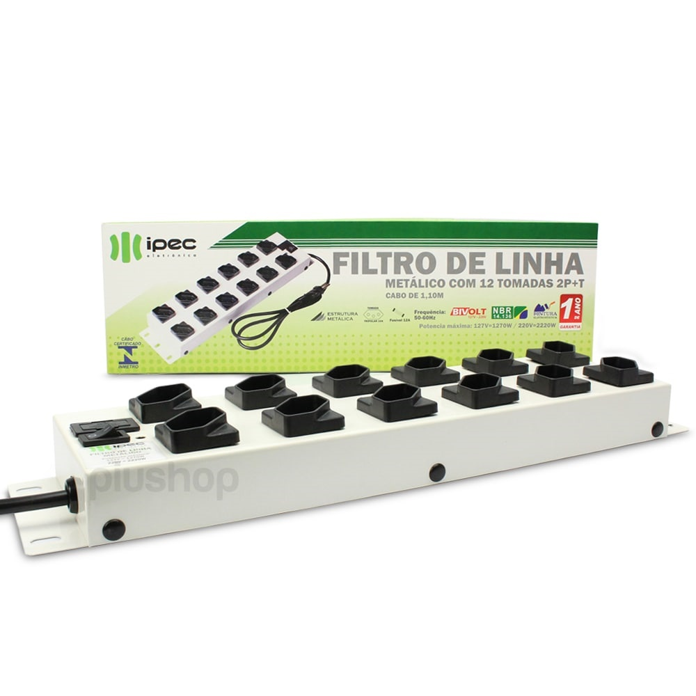 Filtro de Linha 12 Tomadas Metalico Bivolt Branco A2266 - Ipec