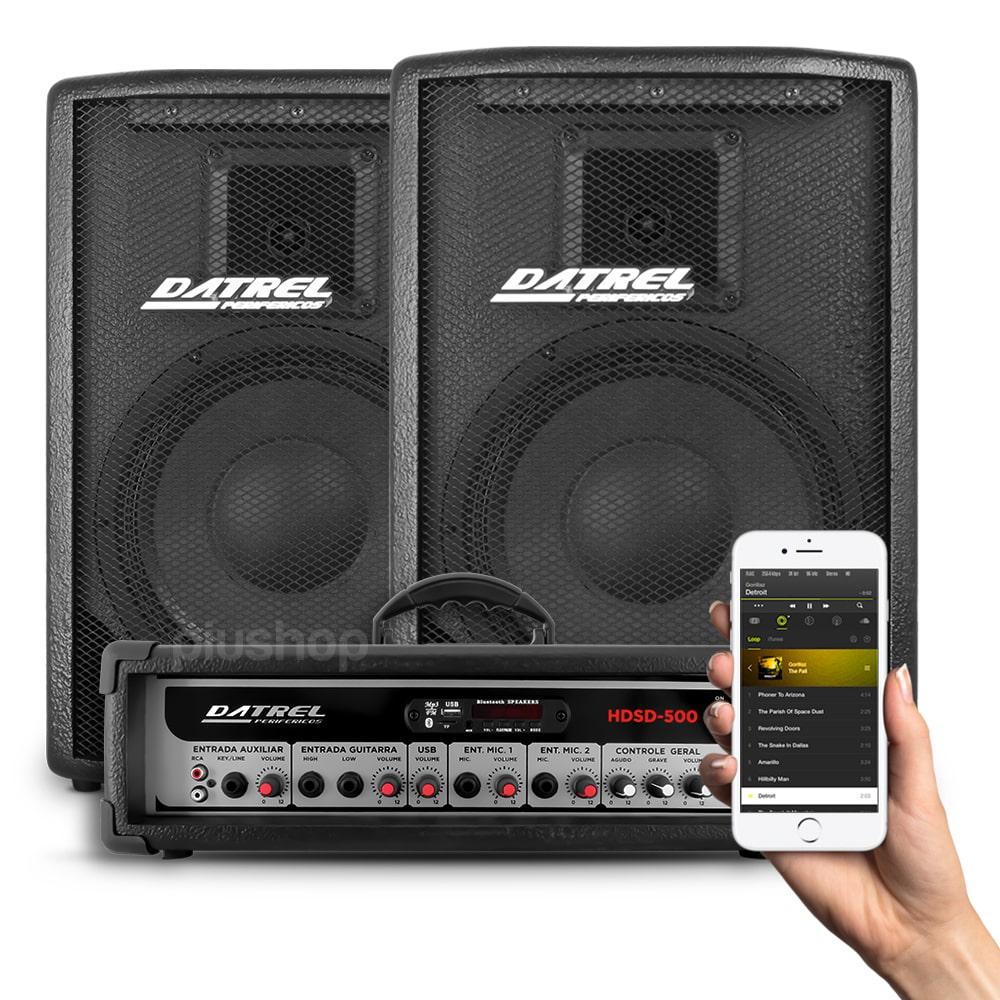 Kit 2 Caixa de Som Passiva 500w + Cabeçote Amplificador Usb