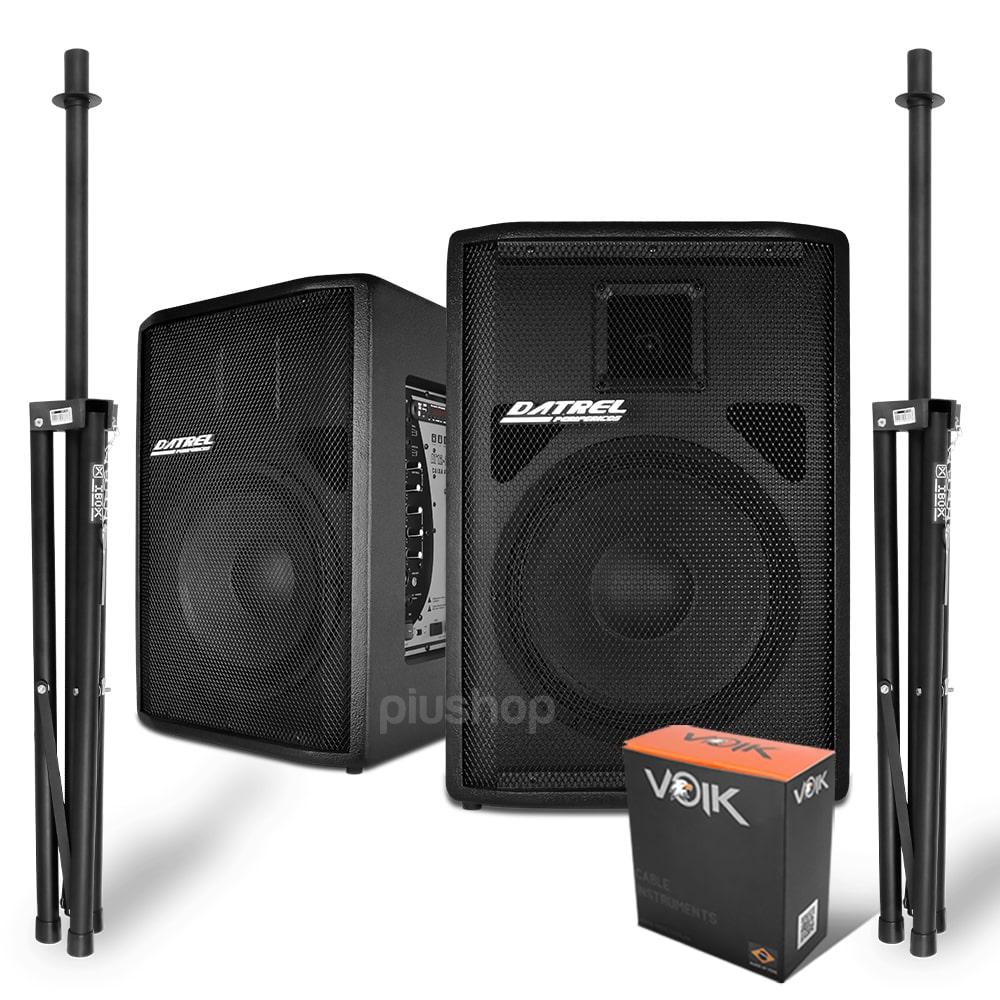 Kit Caixa de Som Ativa Bluetooth Usb Fm e Passiva 500w Rms Datrel + 2 Torres Tr2 Ibox