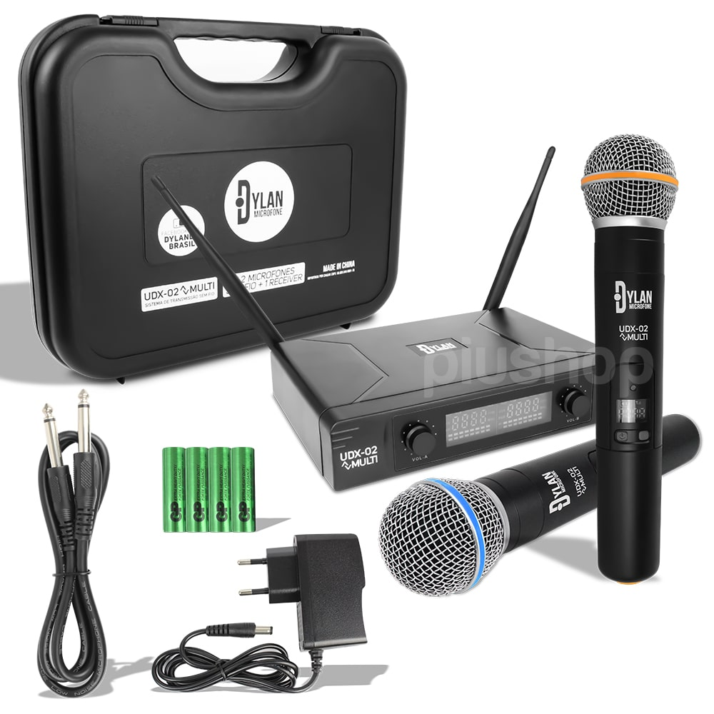 Microfone Sem Fio Duplo UHF de Mão Display Digital 30 Canais UDX-02 Dylan