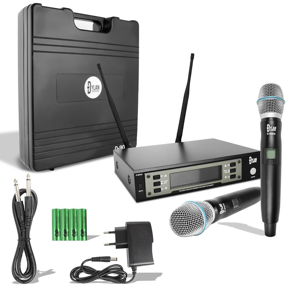 Microfone Sem Fio Duplo UHF Digital 200 Canais Profissional D-9000 - Dylan