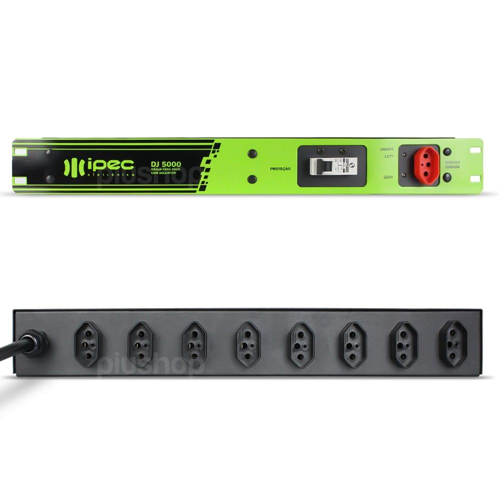Régua de Tomada Para Rack com Disjuntor 5000W Ipec - DJ5000