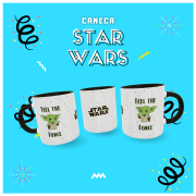 Caneca Geek Love Star Wars - Feel the force - Yoda