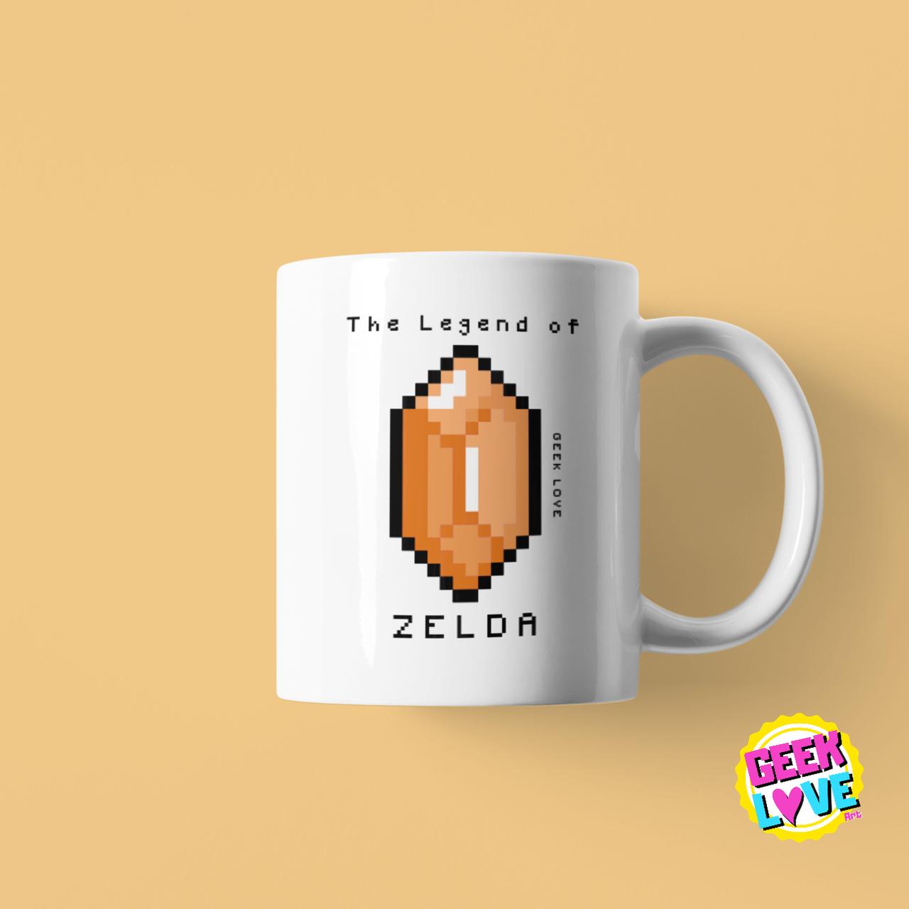 Caneca Geek Love The Legend of Zelda - Rupee (Branca)