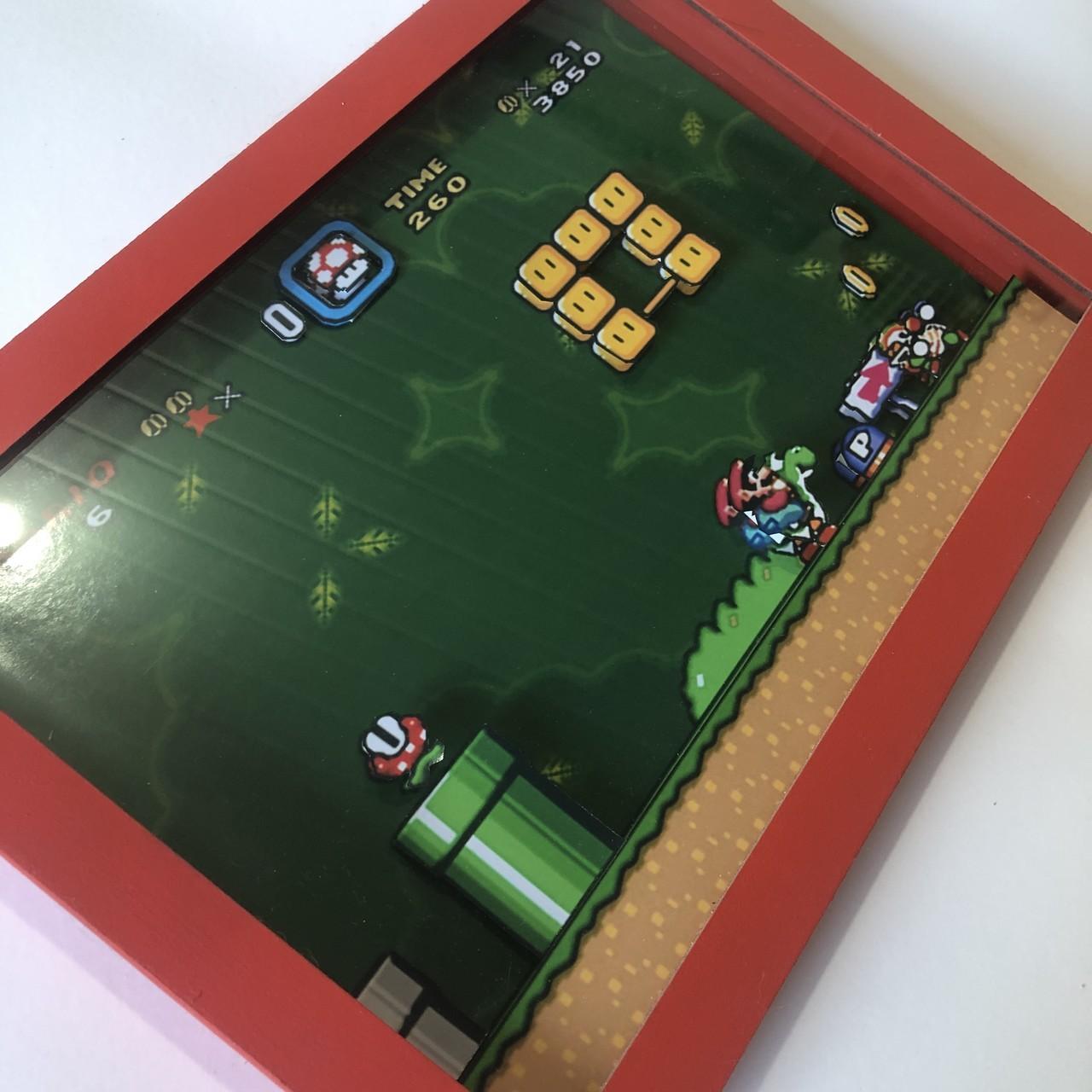 Quadro 3d - Super Mario World Fase - Moldura Vermelha